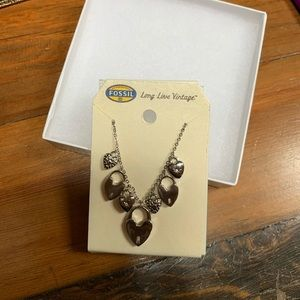 NWT Fossil heart and lock necklace